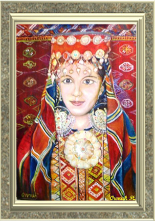 Traditional Turkmen Lady in her Dress